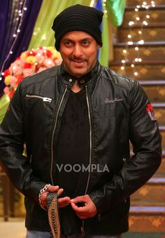Salman Khan wearing black Being Human jacket. via Voompla.com