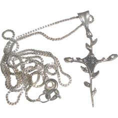 Sterling Silver Chain Necklace & Rosebud Cross Pendant