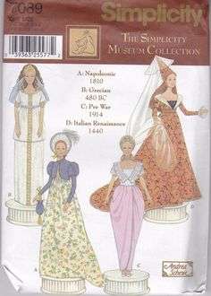 Simplicity Sewing Pattern 7089 Museum Collection 11.5 Inch Doll Uncut FF #Simplicity