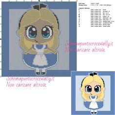 Chibi Alice schema gratis punto croce 100x100 11 colori