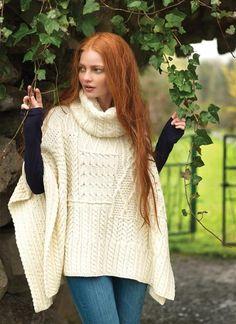 Aran Patchwork Cape Red/White/Grey | Blarney Woollen Mills Ireland