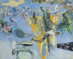 CYCLISTS Robert Medley, Summer Eclogue No. Cyclists Tate Collection, on display at Tate Britain as part of Queer British Art Exhibition closes in two weeks. Date, Tate St Ives, Tate Britain, Galleries In London, Modern Artists, Famous Artists, Art Museum, Oil On Canvas, Art Gallery