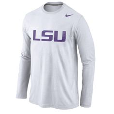 LSU Tigers Nike Logo Cotton Long Sleeve T-Shirt - White