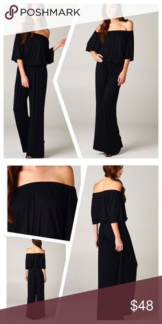 SEXY, SIMPLE JUMPSUIT Flattering. Dramatic. Pretty. Black off shoulder jumpsuit in soft polyester knit. Elastic neckline and waist. Great for a dressy or casual event, your chosen accessories dictate the style. tla2 Pants Jumpsuits & Rompers