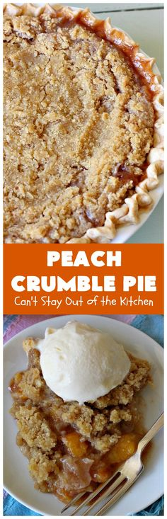 Peach Crumble Pie – Can't Stay Out of the Kitchen Pie Crumble, Crumble Topping, Fall Desserts, Delicious Desserts, Peach Crumb Pie, Pie Dessert, Dessert Recipes, Easy Peach Pie, Peach Pie Recipes