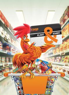Rooster character (Coop supermarket) by Freek van Haagen, via Behance
