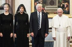 President of United States of America Donald Trump and Wife Melania Trump meet Pope Francis, on May 22, 2017 in Vatican City, Vatican.