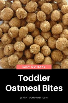 Bake Toddler Oatmeal Bites - Just 4 Simple Ingredients! No Bake Toddler Oatmeal Bites - Just 4 Simple Ingredients!No Bake Toddler Oatmeal Bites - Just 4 Simple Ingredients! Baby Food Recipes, Snack Recipes, Fast Recipes, High Protein Recipes, Cooking Recipes, Oatmeal Bites, Dieta Paleo, Paleo Diet, Healthy Nutrition