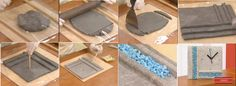 Relógio feito com massa de cimento caseira