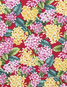 Tropical floral fabric: Plumeria clusters on a red background. Cotton poplin. By HawaiianFabricNBYond.Etsy.com