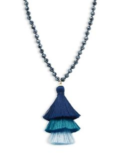 Panacea - Beaded Tassel Pendant Necklace