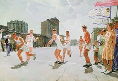 Дейнека Александр Александрович (1899-1969) «Эстафета по кольцу Б» 1947