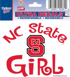 """NC State Wolfpack Logo """"Girl"""" NCSU Team Color Ultra Decal 3""""x4"""""""