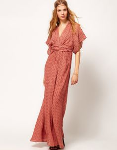 Winter Kate Kimono Maxi Dress in Printed Silk! I love this look