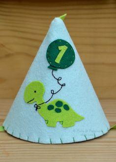 Felt Dinosaur Party Hat, First Birthday, Blue, Green, Boy, Dino, Smash Cake, Photo Prop