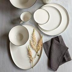 Abbesses Black Rim Dinnerware www.weddingshop.com