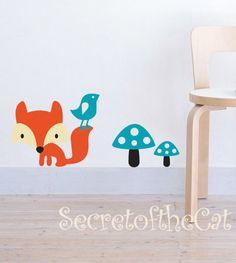 Fox decal  Nursery decal  Vinyl Wall Art by secretofthecat on Etsy, $28.00