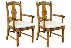 23.5w x 24d x 38h; Light Brown Jensen Armchairs, Pair on OneKingsLane.com