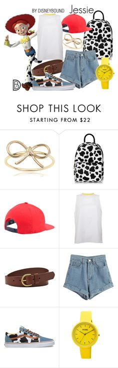 """""""Jessie"""" by leslieakay ❤ liked on Polyvore featuring Journee Collection, Under Armour, Peridot London, FOSSIL, WithChic, Vans, Crayo, vans, disney and disneybound"""