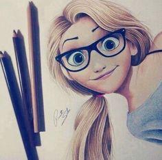 art, disney, drawings, girl, glasses, hair, nerd, pencil, teenager ...