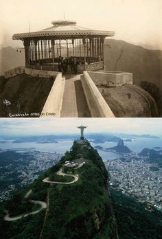 Corcovado (before the statue of Christ), Rio de Janeiro then and now