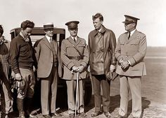 Orville Wright, Major John F. Curry, and Colonel Charles Lindbergh, who came to pay Orville a personal call at Wright Field, Dayton, Ohio. June 22, 1927.