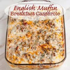 English Muffin Breakfast Casserole - Make ahead recipe! Easy, delicious, and just wake up to bake the next morning! Cheesy good. #brunch #recipe #bake