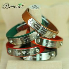Free Engraving, Custom Leather Bracelet, Personalized Wristbands, ID tag, Lover Friendship Gifts
