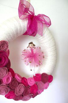 Ballerina Wreath, Pink Wreath, Girls Wreath, Yarn and Felt Wreath, Accent Wreath, Small 10 inch size - Ready to Ship via Etsy