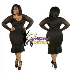 ● □ NEW ARRIVAL ● □   BLACK  RAQUEL TRUMPTED DRESS   ( MODEL WEARING 2X )   SIZE :  1X  2X  3X    COLORS :  RED  WHITE  BLACK    WWW.CURVACEOUSBOUTIQUE.COM & IN STORE    { { VISIT THE WEBSITE FOR ALL DETAILS & PRICE } }