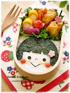 Little girl lunch Cute Lunch Boxes, Bento Box Lunch, Food Art Bento, Bento Kids, Kawaii Bento, Food Art For Kids, Boite A Lunch, Bento Recipes, Exotic Food