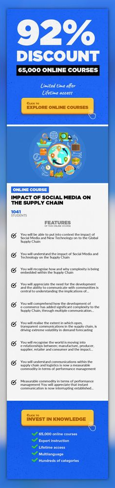 "Impact of Social Media on the Supply Chain Management, Business #onlinecourses #LessonPlans #learninggamesLearn about the impact of Social Media on the Supply Chain and the communication processes within. This course addresses the multiple issues social media and new  technology generates in the supply chain and logistics markets  (""SC&L""). The industry terminology used throughout this cours..."