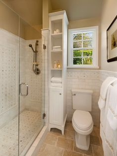 Space Saving Bathroom corner round shower | these are a few of my favorite things