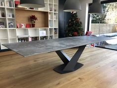Victoria extendable dining table in Dekton Orix, with a graphite base, as delivered to one of our clients. Kitchen Tables, Dinning Table, Extendable Dining Table, Kitchen Dining, Contemporary Furniture, Contemporary Design, Leather Bed, Sofa Design, Modern Bedroom