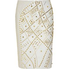Versace Studded leather pencil skirt ($950) ❤ liked on Polyvore featuring skirts, bottoms, versace, saias, gray pencil skirt, grey skirt, knee high skirts, gray leather skirt and zipper skirt