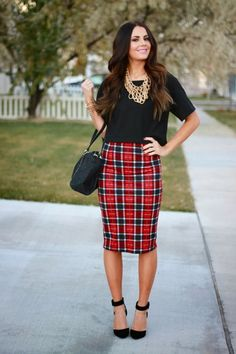 25 Ways To Style Plaid Or Checkered Skirts 2017