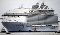 The largest cruise ship ever built departed the STX France Chantiers de l'Atlantique shipyard in Saint-Nazaire, France on Thursday for its first set of sea trials. The Harmony of the Sea… Decks, Biggest Cruise Ship, Harmony Of The Seas, Saint Nazaire, Big Sea, Royal Caribbean International, Adventure Of The Seas, Sailing Adventures, Sea Photo