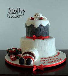 Special occasion cake - Santa in the Chimney cake by Molly's Flair Christmas Birthday Cake, 3rd Birthday, Christmas Baking, Christmas Holidays, Christmas Tree, Pictures Of Food Items, Chimney Cake, Cakes For Boys, Occasion Cakes