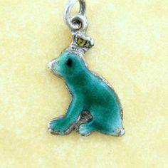 Vintage German Silver Enamel Charm THE FROG PRINCE Fairytale Brother's Grimm