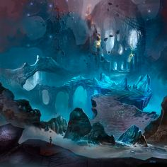 ice like caven with and alien feel, looks untouched so could fit in with our games environment.