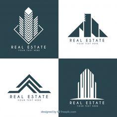 Real estate logotypes in modern design Free Vector Hand Logo, Logo Design, Graphic Design, Icon Set, Arquitectura Logo, Math Blocks, Identity, Construction Logo, Home Icon