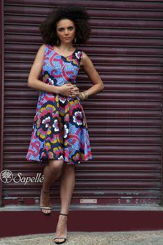 Bold Retro African Print Flared Skirt Dress - Multicoloured