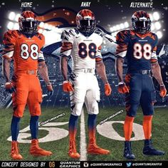 Set of my Denver Broncos Uniform Concepts! I decided to put all 3 of my Broncos concepts together to display them as Home/Away/Alternate versions. I'll probably put together more sets for other teams quantumgraphics photo Broncos Uniforms, College Football Helmets, Sports Uniforms, Nfl Broncos, Denver Broncos Football, Football Memes, Denver Broncos Wallpaper, Super Bowl, American Football