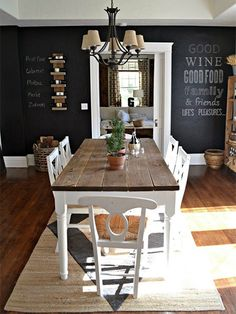 Do you have a wall in your home that you don't know what to do with? I love this idea for painting an entire wall with chalkboard paint as a feature in the dining room. I particularly like the chalkboard wine menu on the one side of the wall. - See more at: http://www.home-dzine.co.za/craft/craft-ro-chalkwalls.html#sthash.W3oppwn8.dpuf