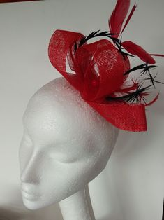 red and black Lavender Moon fascinator