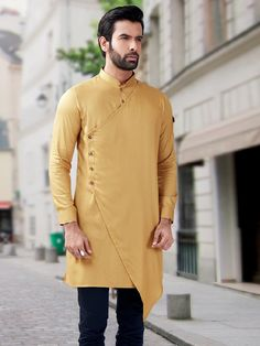 Shop Plain fancy designer yellow short pathani kurta online from G3fashion India. Brand - G3, Product code -  G3-MSP1046, Price - 5395, Color - Khaki, Fabric - Silk,