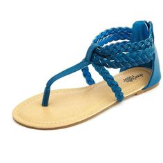 Braided Zip-Back T-Strap Sandal
