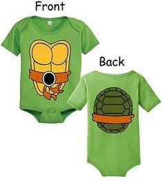Infant Baby Teenage Mutant Ninja Turtles Michaelangelo Green Onesie Romper