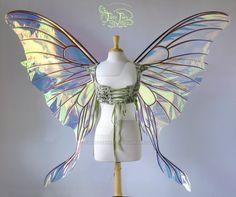 Giant Luna Triple Paneled Fairy Wings by FaeryAzarelle on DeviantArt Fairy Wings Costume, Moth Wings, Fairy Clothes, Blue Fairy, Fairy Jewelry, Fairy Makeup, Fairy Princesses, Fairy Dress, Fantasy Costumes