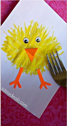 Make a Chick Craft Using a Fork #Easter craft for kids | http://CraftyMorning.com